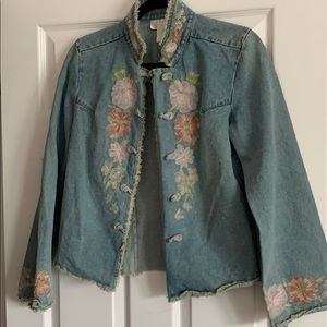 Unique denim jacket with an Asian flair!